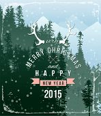 Winter landscape with Christmas type design