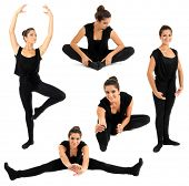 Young woman doing ballet stretching warm-up exercise, isolated on white