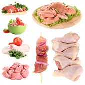 Collage of raw meat isolated on white