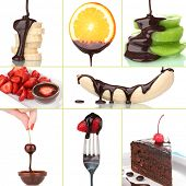 Tasty dessert collage with fruits and chocolate isolated on white