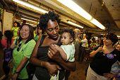 Moms leaving MTA station, Brooklyn