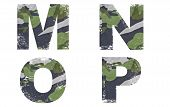 M, N, O, P alphabet from military fabric texture on white background.