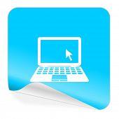computer blue sticker icon