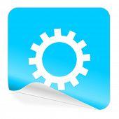 gear blue sticker icon