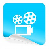 movie blue sticker icon