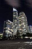 Gold Coast cityscape with Q1 Building and famous beach by night