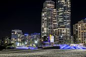 Gold Coast cityscape and famous beach by night
