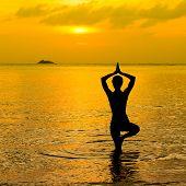Yoga Women Silhouette At Sunset