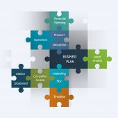 Puzzle pieces with business plan design