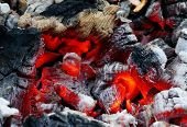 image of ember  - Glowing embers in the ash close up - JPG