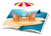 Illustration of a pop up book of beach