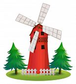 Illustration of a tall wooden building with a windmill on a white background
