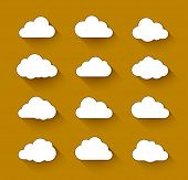 Cloud computing icons with long shadow. Vector illustration of clouds collection