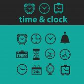 time, clock icons, signs, symbols, objects, illustrations set. vector