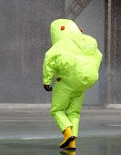 Man With The Jumpsuit For The Biohazard During A Chemical Warfare Simulation 3