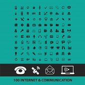 100 internet, communication icons, signs, symbols, objects, illustrations set. vector