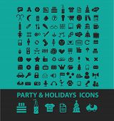 party, holidays icons, signs, symbols, objects, illustrations set. vector