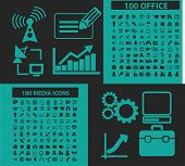 200 office, media icons, signs, symbols, objects, illustrations set. vector