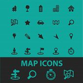 map icons, signs, symbols, objects, illustrations set. vector