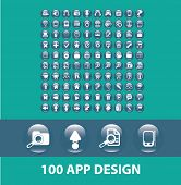 100 application, mobile buttons, design icons, signs, symbols, objects, illustrations set. vector