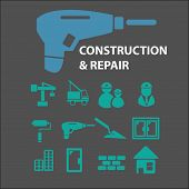 construction, repair icons, signs, symbols, objects, illustrations set. vector