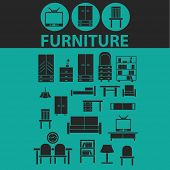 furniture icons, signs, symbols, objects, illustrations set. vector