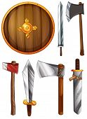Illustration of a shield, swords and axes on a white background