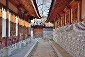 Corridor Between Traditional Architectures In Gyeongbokgung, Korea