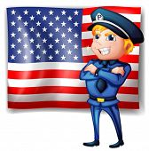 Illustration of a police near the USA flag on a white background