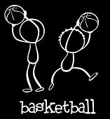 Illustration of stickmen playing basketball