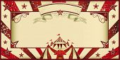 Red vintage circus invitation. Circus invitation with sunbeams and a large frame. A retro invitation card for your circus company.