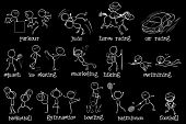 Illustration of the doodle design of the different sports on a black background