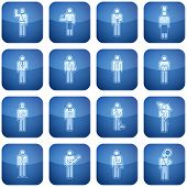 Cobalt Square 2D Icons Set: Occupation