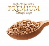 stock photo of oats  - Oats on wooden spoons isolated on white background with place for your text - JPG