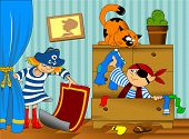 stock photo of pirate girl  - boy and girl in pirate costume looking for hidden treasure - JPG
