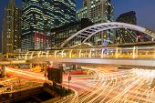 public skywalk at bangkok downtown square night in sathorn business zone