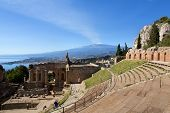 stock photo of greek  - Ruins of the Greek Roman Theater Taormina Sicily Italy - JPG