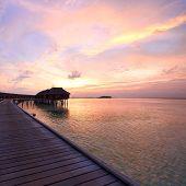 Beautiful sunset at Maldivian beach