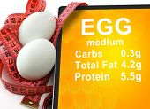 Tablet with Calories In egg