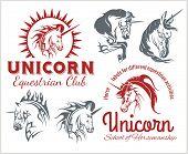 Vector set  - Unicorns and horses equestrian labels, badges