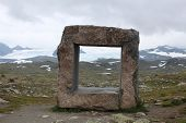 stock photo of hollow point  - A foursquare coreless stone form the mountain pass in Norway.