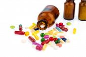 foto of drug addict  - many tablets with a glas - JPG