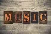 Music Concept Wooden Letterpress Type