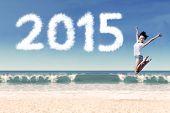 Woman Celebrate New Year On Beach