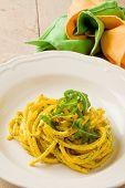 Pasta With Saffron And Arugula Pesto
