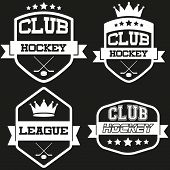 Set of Vintage Ice Hockey Club Badge and Label
