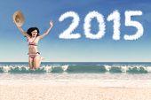 Woman In Bikini Celebrate New Year