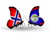 Two Butterflies With Flags On Wings As Symbol Of Relations Norway And Belize