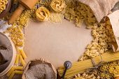 picture of pasta  - Pasta frame with different types of italian pasta - JPG