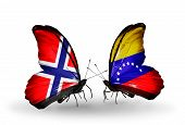 Two Butterflies With Flags On Wings As Symbol Of Relations Norway And Venezuela